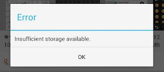 insufficient storage available error