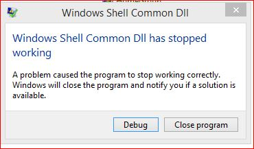 windows shell has stopped working