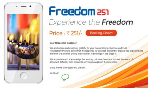 Freedom 251 Booking Closed!